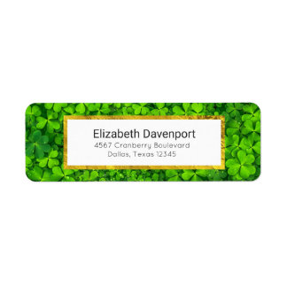 Leafy Green Clovers with Water Droplets Return Address Label