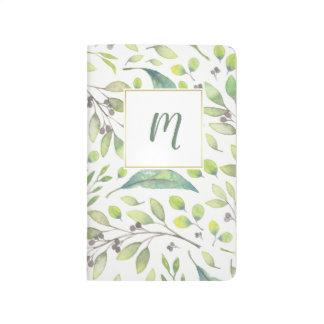 Leafy Green Trendy Watercolor Pattern | Monogram Journal