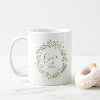 Leafy Green | Trendy Watercolor Wreath Love Coffee Mug