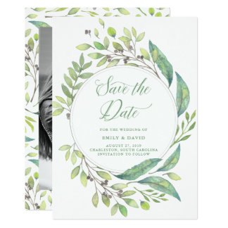 Leafy Green | Watercolor Save the Date with Photo Card