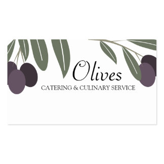 leafy olives branch cooking chef business card,...