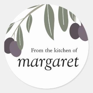 leafy olives branch kitchen gift tag sticker, F... Round Sticker