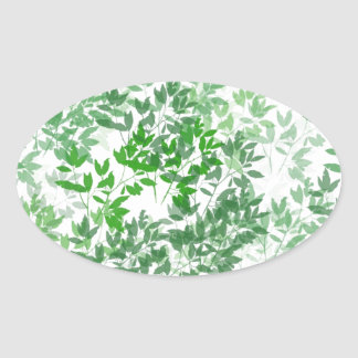 Leafy Pattern Design Oval Sticker