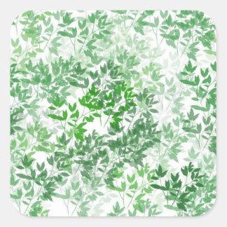 Leafy Pattern Design Square Sticker