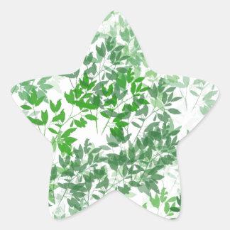 Leafy Pattern Design Star Sticker
