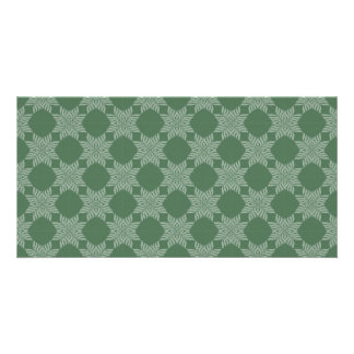 Leafy pattern on olive green photo greeting card