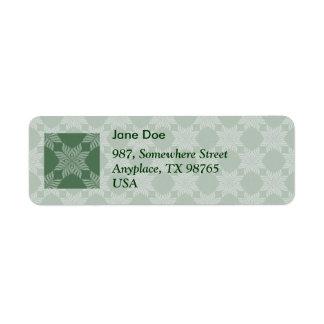 Leafy pattern on olive green return address label