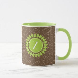 Leafy personalized monogram with circle background mug