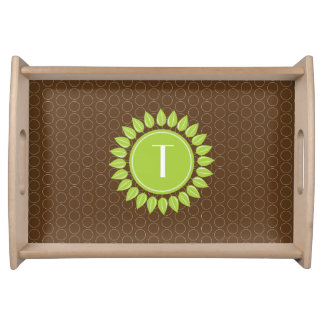 Leafy personalized monogram with circles serving tray