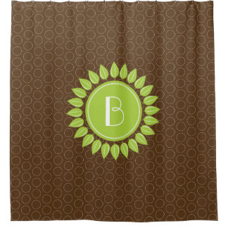 Leafy personalized monogram with circles shower curtain