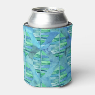 Leafy Rainforest Watercolor Blues Can Cooler