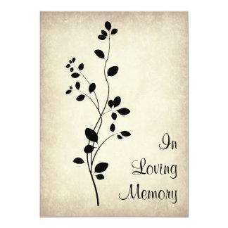 """Leafy Vine Design Funeral Memorial Announcement 4.5"""" X 6.25"""" Invitation Card"""