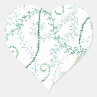 Leafy vines heart sticker