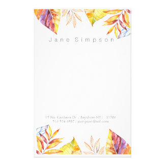 leafy watercolor personal stationary stationery paper