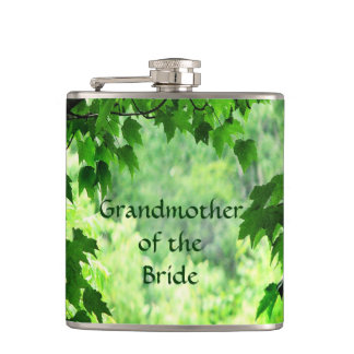 Leafy Wedding Grandmother of the Bride Hip Flask