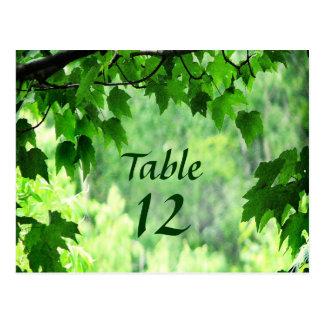 Leafy Wedding Table Number Postcard