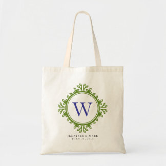 Leafy wreath green monogram personalised tote budget tote bag