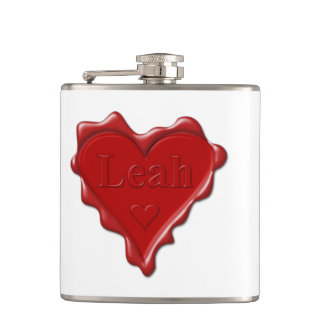 Leah. Red heart wax seal with name Leah Hip Flask