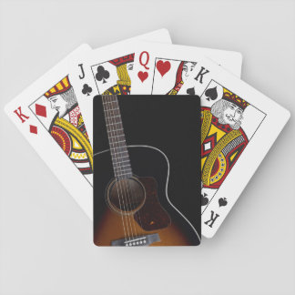 Leaning Acoustic Guitar Playing Cards