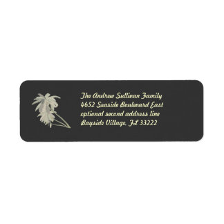 Leaning Palms dark Return Address Label