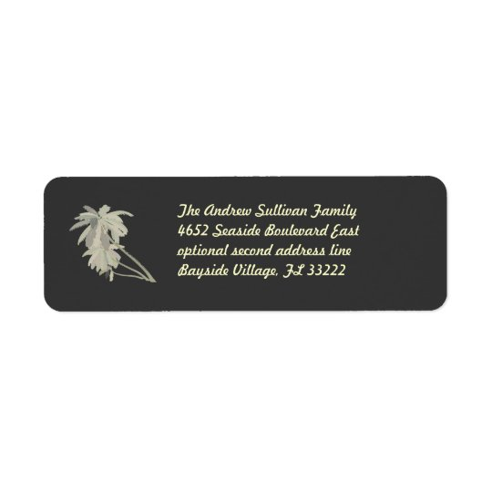 Leaning Palms dark Return Address Label