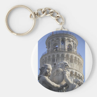 Leaning Tower of Pisa Basic Round Button Key Ring