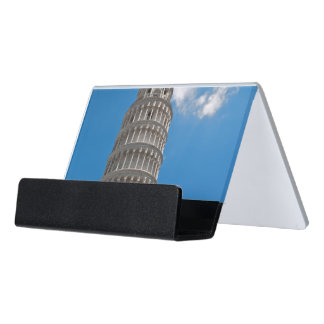 Leaning Tower of Pisa in Italy Desk Business Card Holder