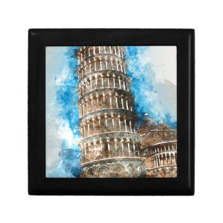 Leaning Tower of Pisa in Italy - Watercolor Small Square Gift Box