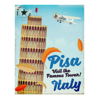 Leaning Tower of Pisa Vintage vacation print. Poster