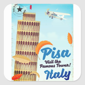 Leaning Tower of Pisa Vintage vacation print. Square Sticker