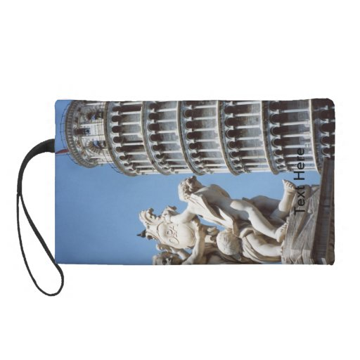 Leaning Tower of Pisa with Cherub Statue Wristlet Purses