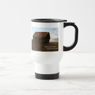 Leaning wooden building on the praire and clouds stainless steel travel mug