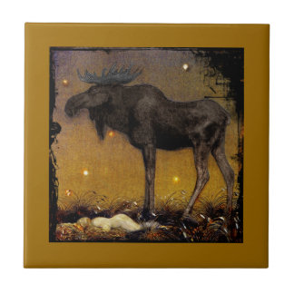 Leap Elk Princess Cotton Asleep Small Square Tile