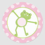 Leap Frog (Pink) Envelope Seals / Toppers 20 Round Sticker