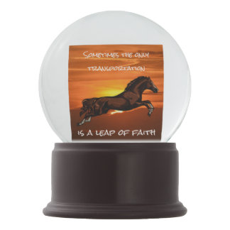 """Leap of Faith"" Quote & Horse Leaping at Sunset Snow Globes"