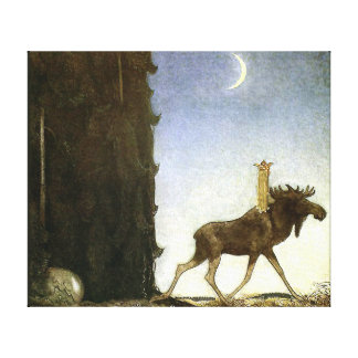 Leap the Elk and Princess Tuvstarr by John Bauer Canvas Print
