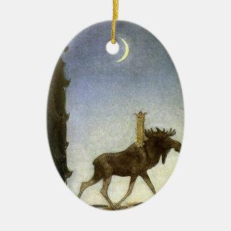 Leap the Elk and Princess Tuvstarr by John Bauer Ceramic Ornament