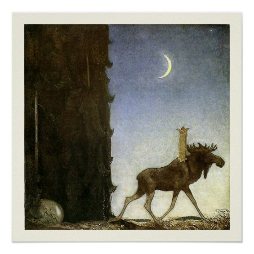 Leap the Elk and Princess Tuvstarr by John Bauer Posters