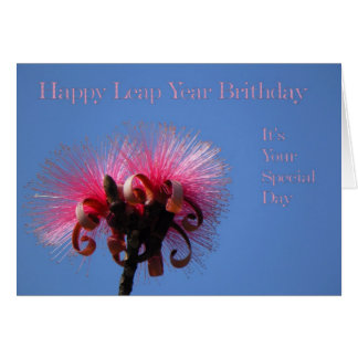Leap Year Birthday Card, Two Hot Pink Flowers Card