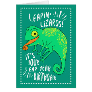 Leap Year Leapin' Lizards Birthday Greeting Card