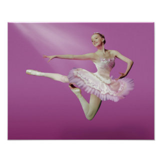 Leaping Ballerina on Pink Poster
