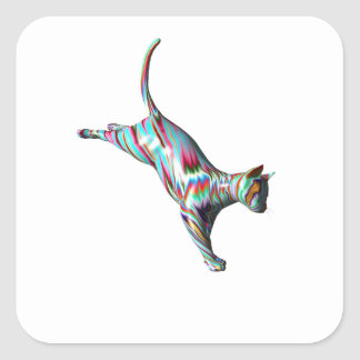 Leaping Cat Square Sticker