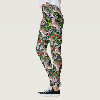 Leaping Christmas Bunny Rabbit Leggings Red Green