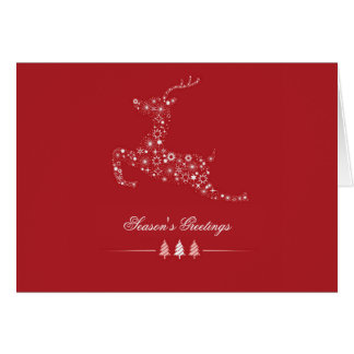 Leaping Deer Folded Holiday Card (Photo Optional)