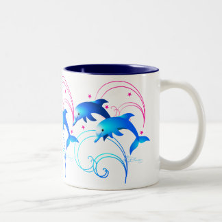 Leaping Dolphins Two-Tone Coffee Mug