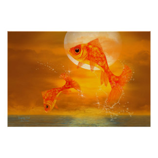 'Leaping Fish' Art/Poster large Poster
