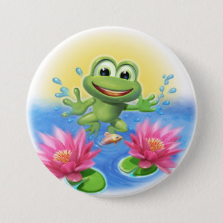 Leaping frog birthday party badge