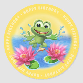 Leaping Frog birthday party glossy sticker