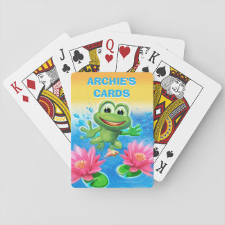 Leaping frog birthday party playing cards