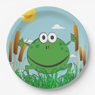 Leaping Frog in a Pond Paper Plate